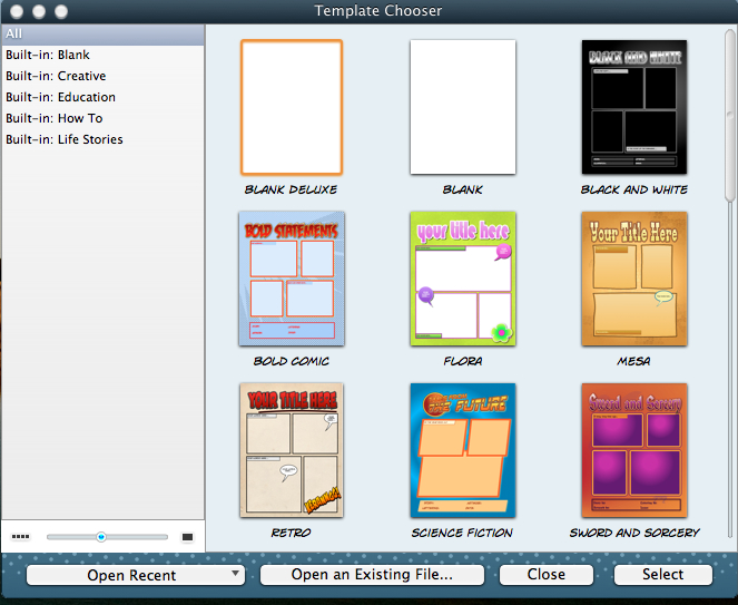 accessing template features in comic life 2