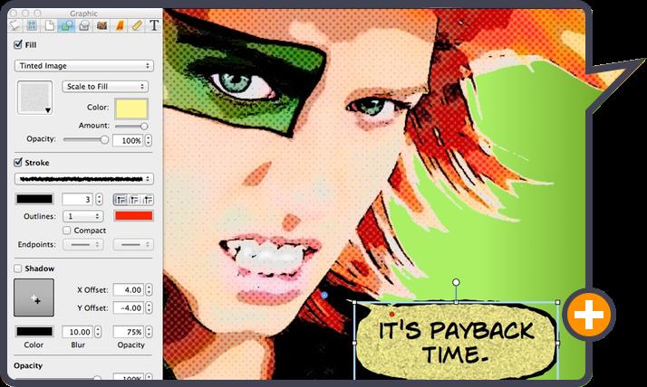 Comic Life 3 by plasq: Graphic design options for a custom comic